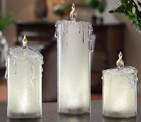"""10"""" Set of 3 LED Frosted Acrylic Candles"""