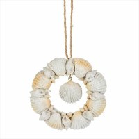 """4"""" Round Distressed White Finish Shell Wreath Ornament"""