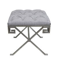 """20"""" Square Gray Cushion Bench with Silver Legs"""
