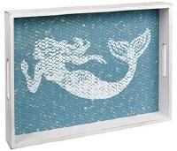 "12"" x 16"" White and Blue Wood Mermaid Tray"