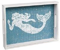 "10"" x 14"" White and Blue Wood  Mermaid Tray"