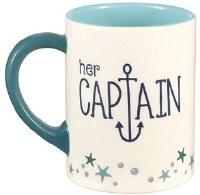 16 oz Aqua and White Her Captain Mug
