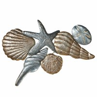 """28"""" Silver and Gold Shells Metal Wall Plaque"""