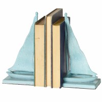 """10"""" Blue Sailboat Cast Iron Bookends"""