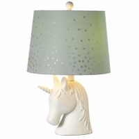 """20"""" White Unicorn Table Lamp With Green and Silver Polka Dot Shade"""