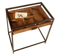 """18"""" Wood and Metal Curio Table With Glass Top"""