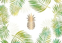 """13"""" x 18"""" Green and Gold Pineapple Paper Placemat Pad"""