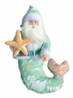 "16"" Light Green Santa Holding Starfish Merman"