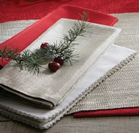 """20"""" Square Ivory Cloth Napkin With Silver Edge"""