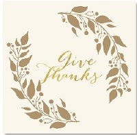 """7"""" Square Gold Foil Give Thanks Paper Luncheon Napkins"""
