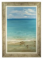 """42"""" x 30"""" Sunday At The Shore with Five Sandpipers Gel in Wood Frame"""