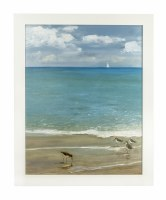 """32"""" x 26"""" Sunday Shore with Four Sandpipers Gel in White Frame"""
