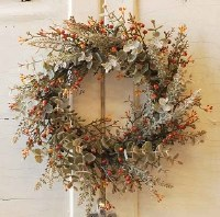 """6"""" Opening Faux Gray Eucalyptus and Berry Candle Ring"""