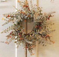 """3"""" Opening Faux Gray Eucalyptus and Berry Candle Ring"""