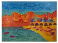 """43"""" x 59"""" Orange and Blue Mediterranean Beach Bay Canvas"""