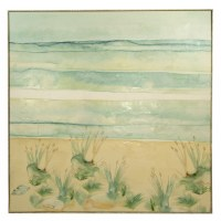 """51"""" Square Sand Beach and Seaoats Framed Canvas"""