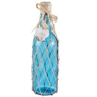 """11"""" Blue Glass Bottle with Net and Scallop Shells"""