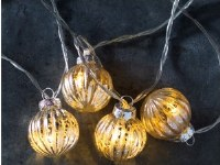 """72"""" LED Distressed Silver Finish and Glass Globe Light String"""