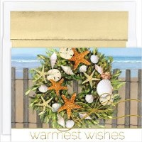 "6"" x 8"" Box of 18 Warm Wish Wreath Cards"