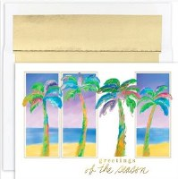 """6"""" x 8"""" Box of 18 Multicolor Palms Christmas Greeting Cards"""