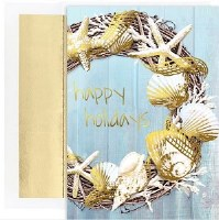 "8"" x 6"" Box o 18 Happy Holidays Wreath Christmas Greeting Cards"