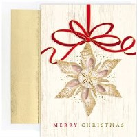 "8"" x 6"" Box of 18 Shell Ornament Christmas Greeting Cards"