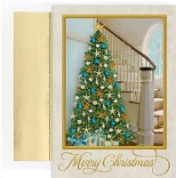 "8"" x 6"" Box of 18 Coastal Christmas Tree Greeting Cards"