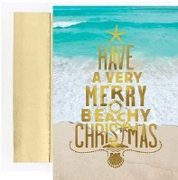 "8"" x 6"" Box of 18 Merry Beachy Christmas Greeting Cards"