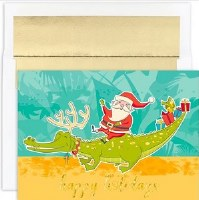 "6"" x 8"" Box of 18 Santa Riding Gator Christmas Greeting Cards"