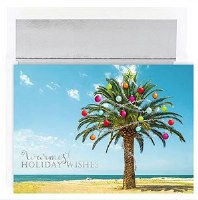 "6"" x 8"" Box of 18 Palm With Ornaments Christmas Greeting Cards"