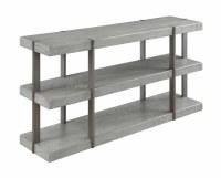 """60"""" Grey 3 Shelf Wood Console"""