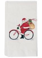 "8"" Red Santa Bike Pack of 16 Guest Towel"
