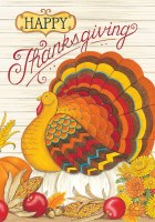 "30"" x 42"" Happy Thanksgiving Turkey Flag"