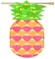 "44"" x 28"" Pink and Green Pineapple Shaped House Flag"