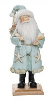 "13"" Light Blue Santa with Shells Resin Figure"