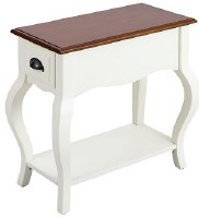 """13"""" White With Brown Top Drawer Table"""