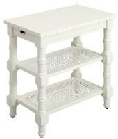 """13"""" White Openwork Two Shelf End Table"""