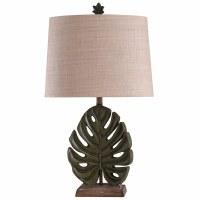 """31"""" Green Tropical Leaf Lamp"""
