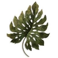 "28"" Green Metal Monstera Leaf Plaque"