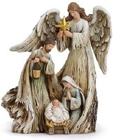 "10"" Polyresin Angel With Holy Family"