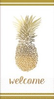 """8"""" x 5"""" Gold Stamped Pineapple Welcome Paper Guest Towels"""