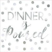 "5"" Square Silver Foil Dinner is Poured Paper Beverage Napkins"