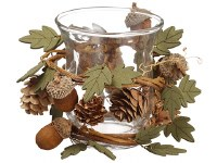 "5"" Acorn Wood Leaf Clear Candle holder"