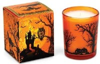 2 oz. Orange and Black Halloween House Votive