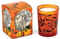 2 oz. Orange and Black Halloween Owl Votive