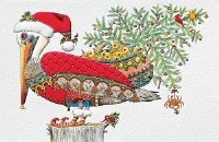 """5"""" x 9"""" Box of 16 Pelican With Tree Christmas Cards"""