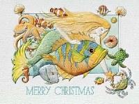 "4"" x 6"" Box of 10 Mermaid Fish Christmas Cards"