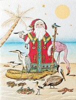 "6"" x 4"" Box of 10 Coastal Father Christmas Cards"