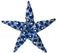 "17"" Blue and White Metal Fleurdelis Pattern Starfish Plaque"