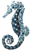 """19"""" Blue, White and Teal Metal Leaf and Dotted Seahorse Plaque"""